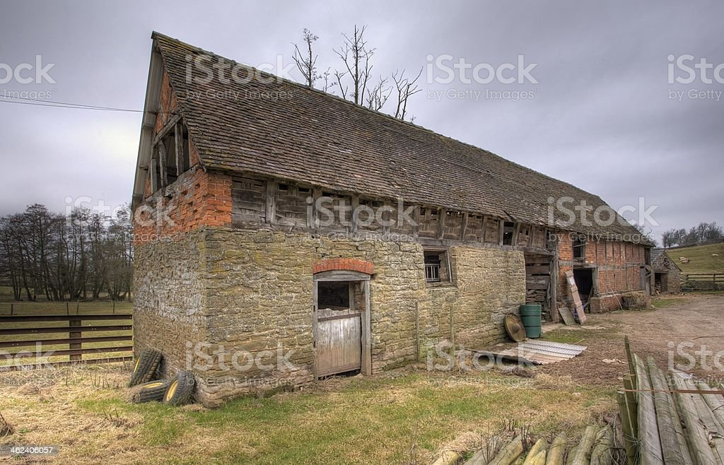 Landscape shot of Shropshire barn building on cloudy day stock photo
