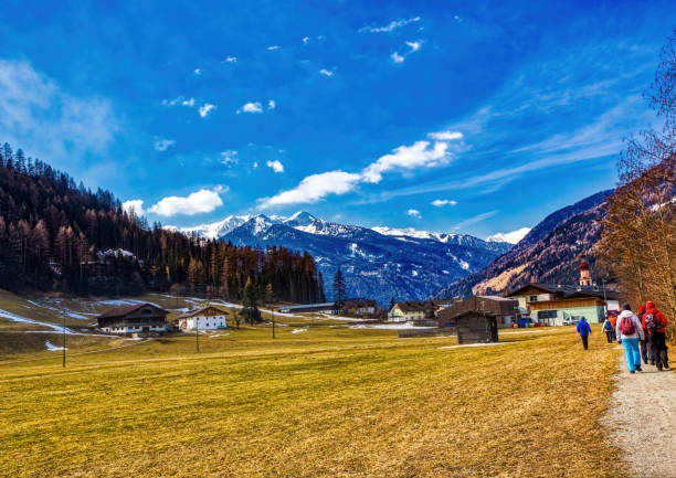 Landscape shot of the Alps between St. Johann and Sand in Taufers in Tirol, Italy stock photo