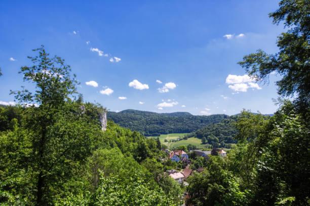 Landscape shot of the Franconian Switzerland near Streitberg stock photo