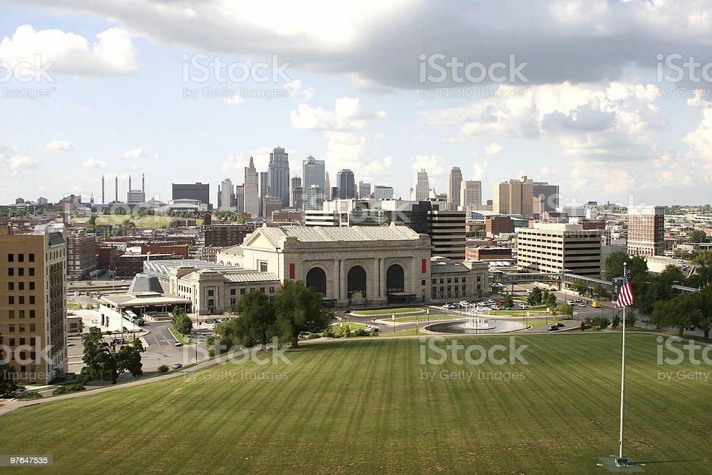A landscape shot of the Kansas City skyline royalty-free stock photo