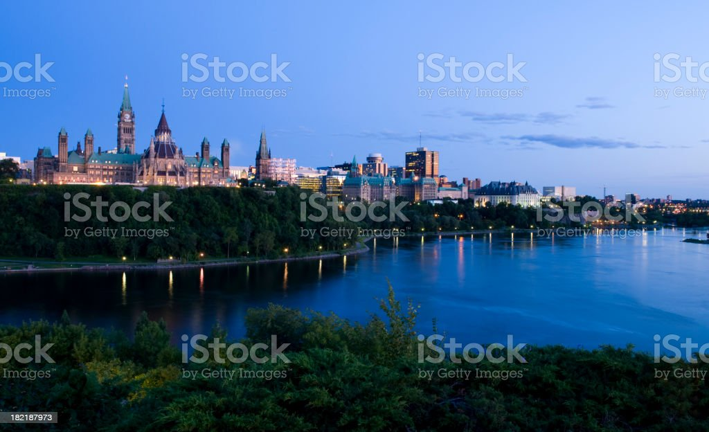 Landscape shot of the Ottawa skyline in the evening royalty-free stock photo