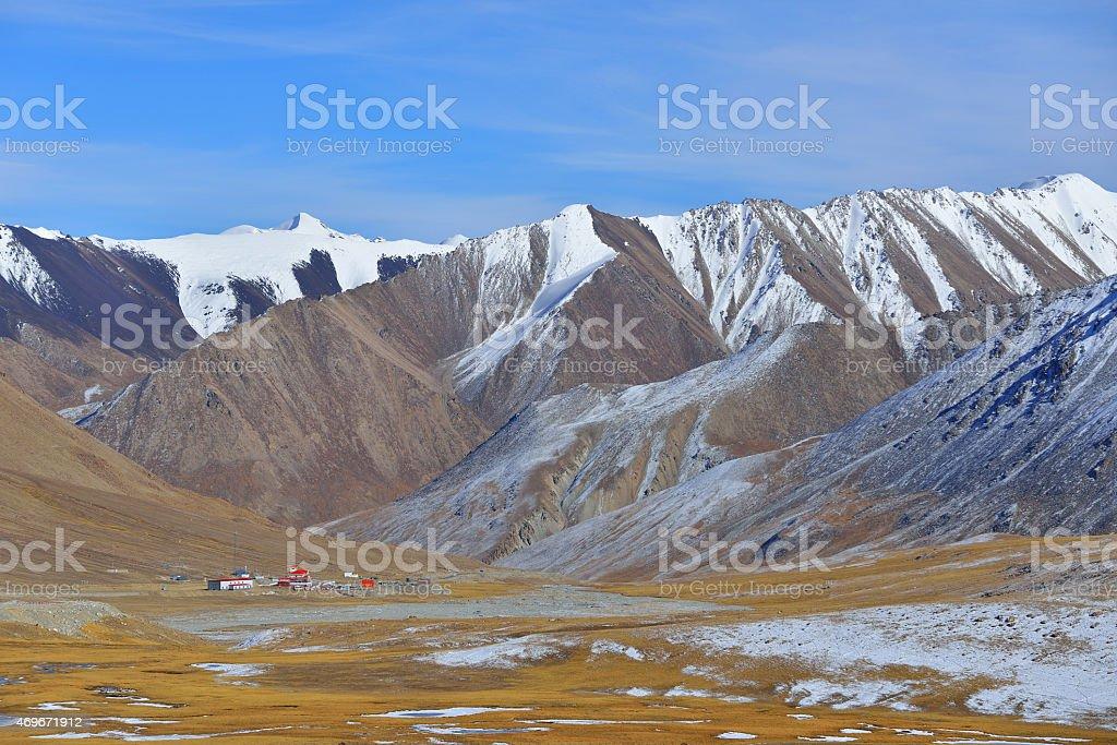 Landscape snow mountain of Khunjerab pass. stock photo