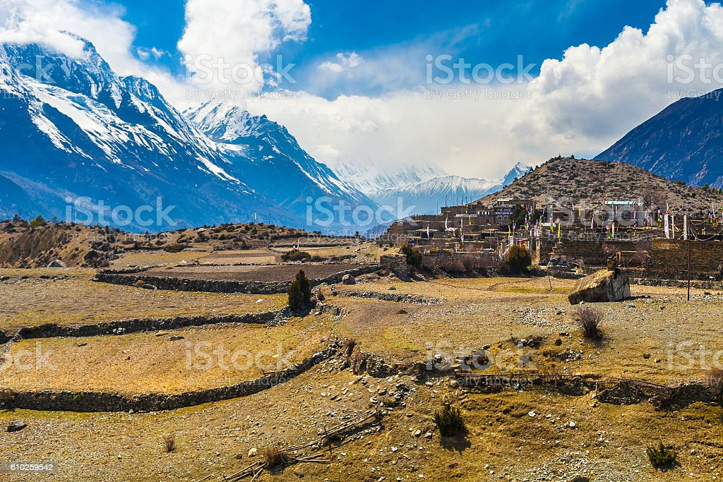Landscape Snow Mountains Nature Nepal.Mountain Trekking Landscapes Background. Nobody стоковое фото