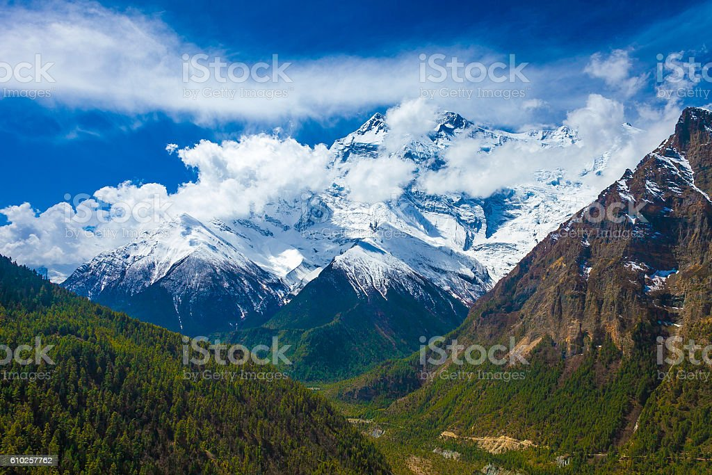 Landscape Snow Mountains Nature Viewpoint.Mountain Trekking Landscapes Background. Nobody стоковое фото