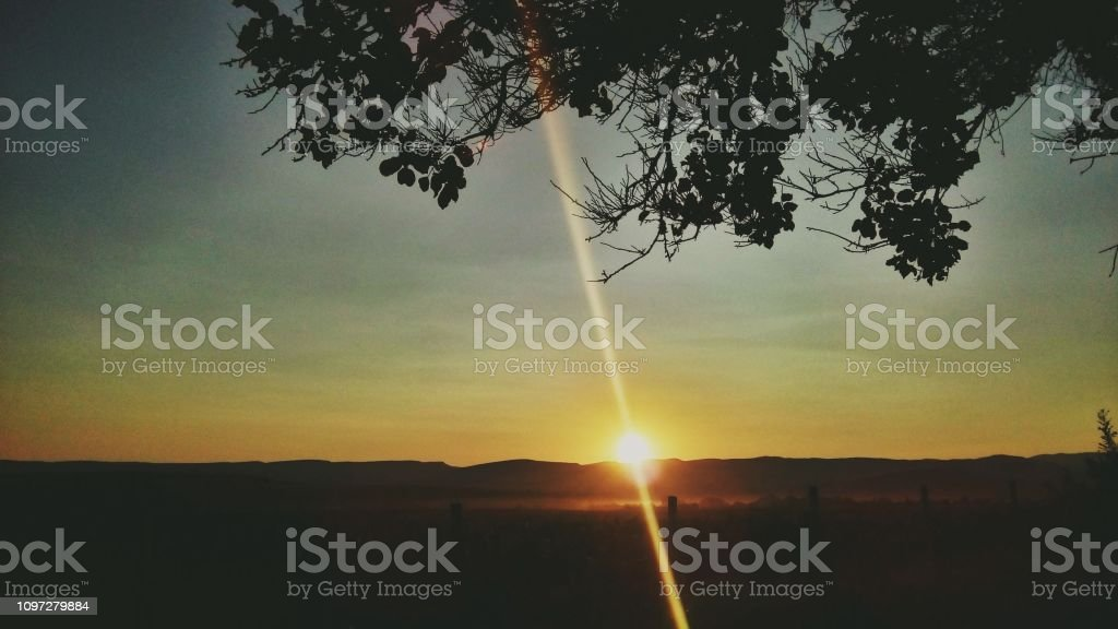 Landscape. Sunray in the morning stock photo