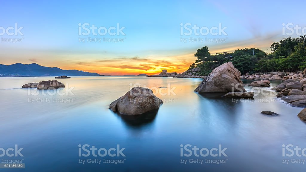 Landscape sunrise on Hon Chong cape foto stock royalty-free