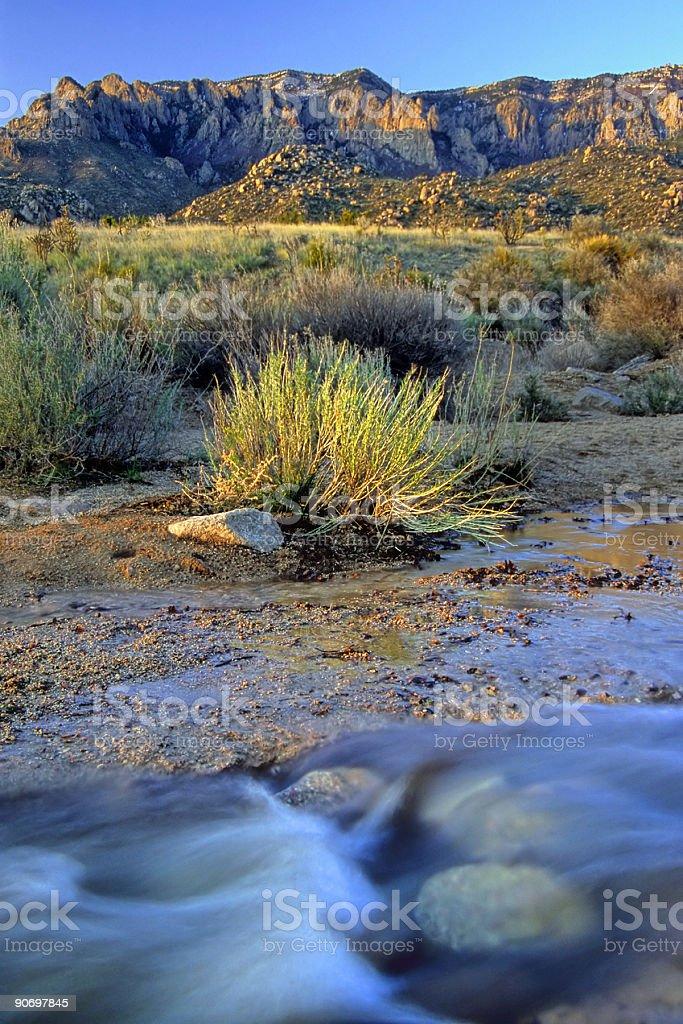 landscape sunset mountain creek desert royalty-free stock photo