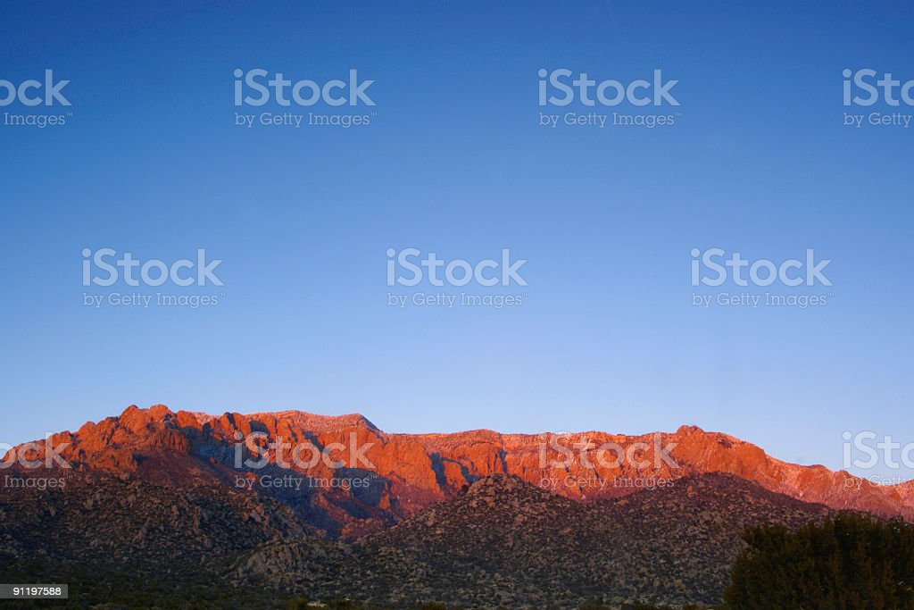 landscape sunset mountain red with blue sky stock photo