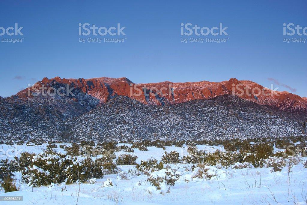 landscape sunset mountain snow stock photo