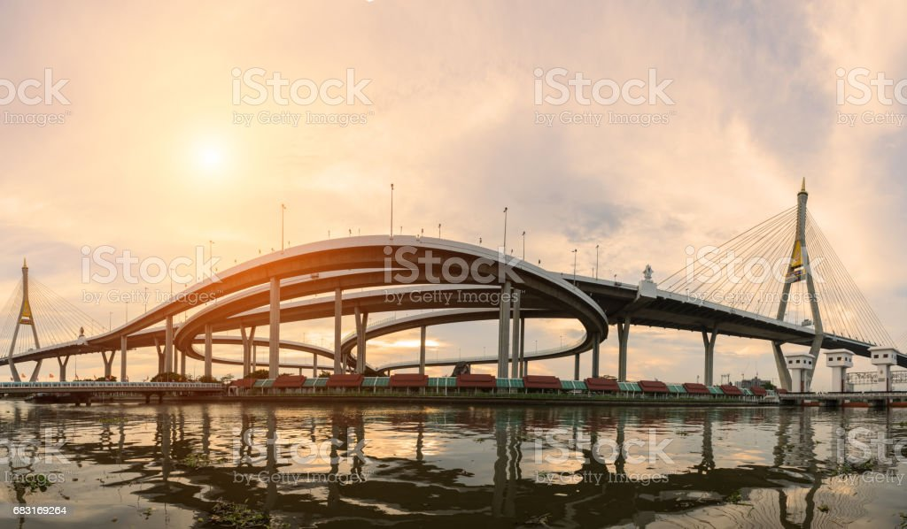 普密蓬橋的景觀日落 免版稅 stock photo
