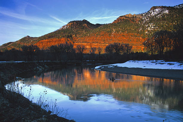 landscape sunset river mountain reflection  animas river stock pictures, royalty-free photos & images
