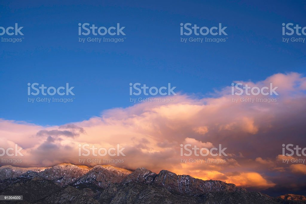landscape sunset sky clouds and mountains stock photo