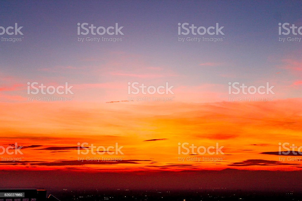 Landscape sunset, Tokyo City View stock photo
