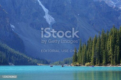 Banff, Canada -September 22, 2019 : Landscape sunset view of Morain lake and mountain range