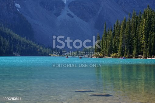 Banff, Canada -September 22, 2019 : Landscape sunset view of Morain lake and mountain range