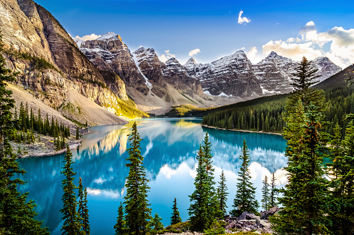 Landscape Sunset View Of Morain Lake And Mountain Range Stock Photo - Download Image Now