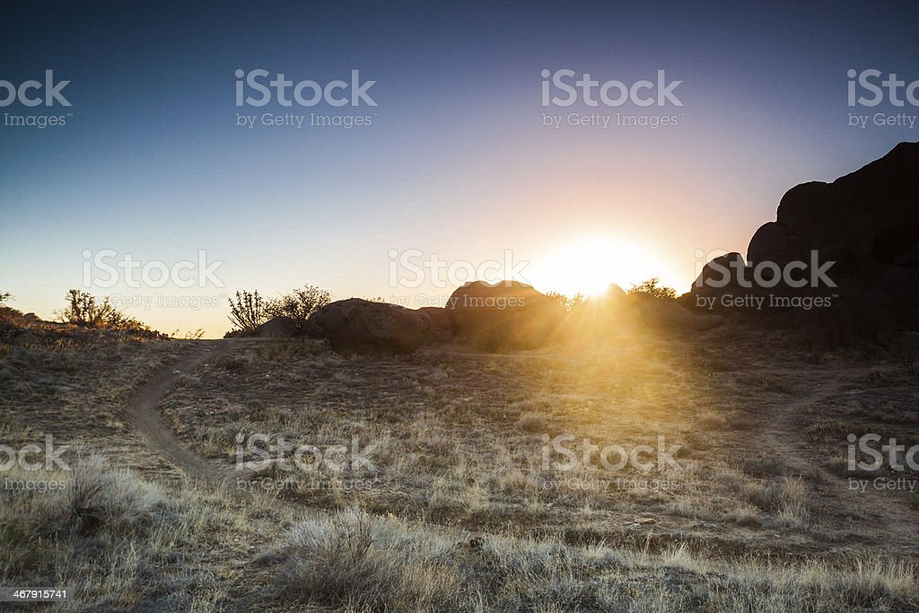 landscape sunshine desert trail royalty-free stock photo
