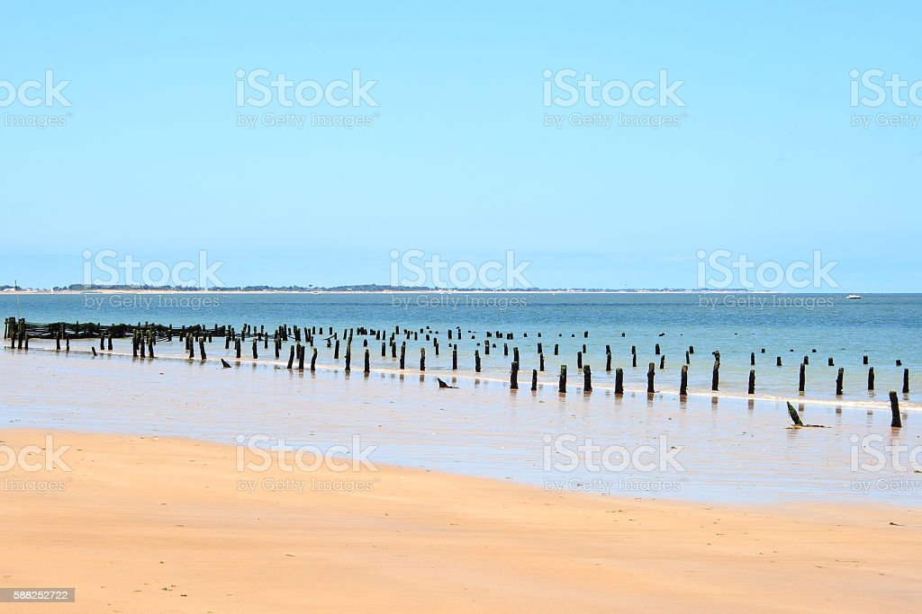 landscape the Atlantic coast from a French island stock photo