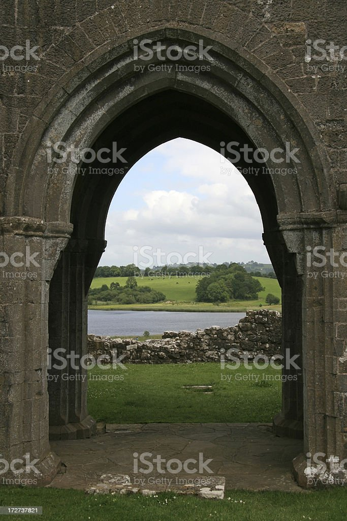 Landscape through a gate stock photo