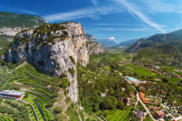 Landscape - valley with village among mountains, high mountain with vineyards stock photo