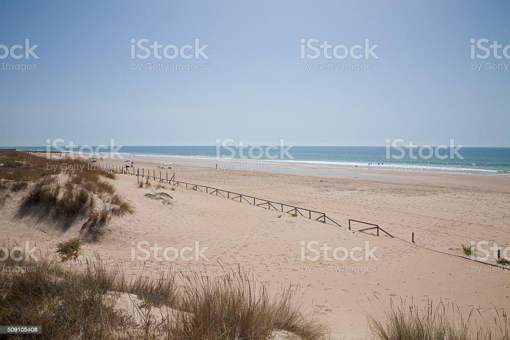 landscape Vejer Beach in Cadiz stock photo