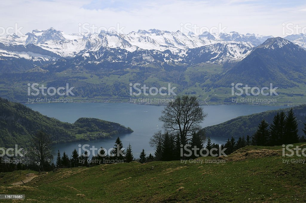 Landscape view and lake from Rigi switzerland royalty-free stock photo