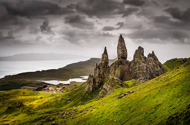 Landscape view at Old Man of Storr rock formation, Scotland stock photo