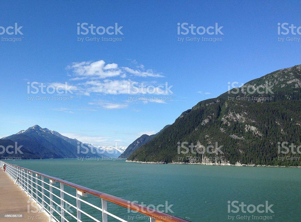 Landscape view at ship railing stock photo