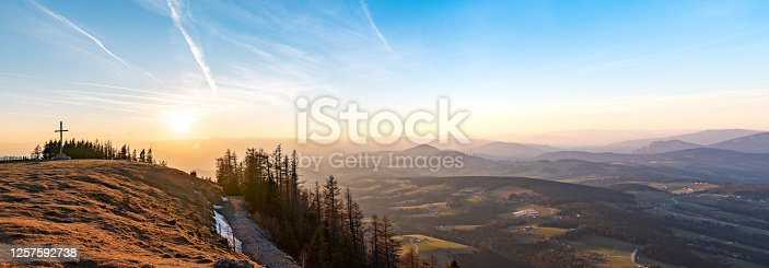 istock Landscape view during sunset in spring from Graz Schockl mountain in Styria Austria. 1257592738