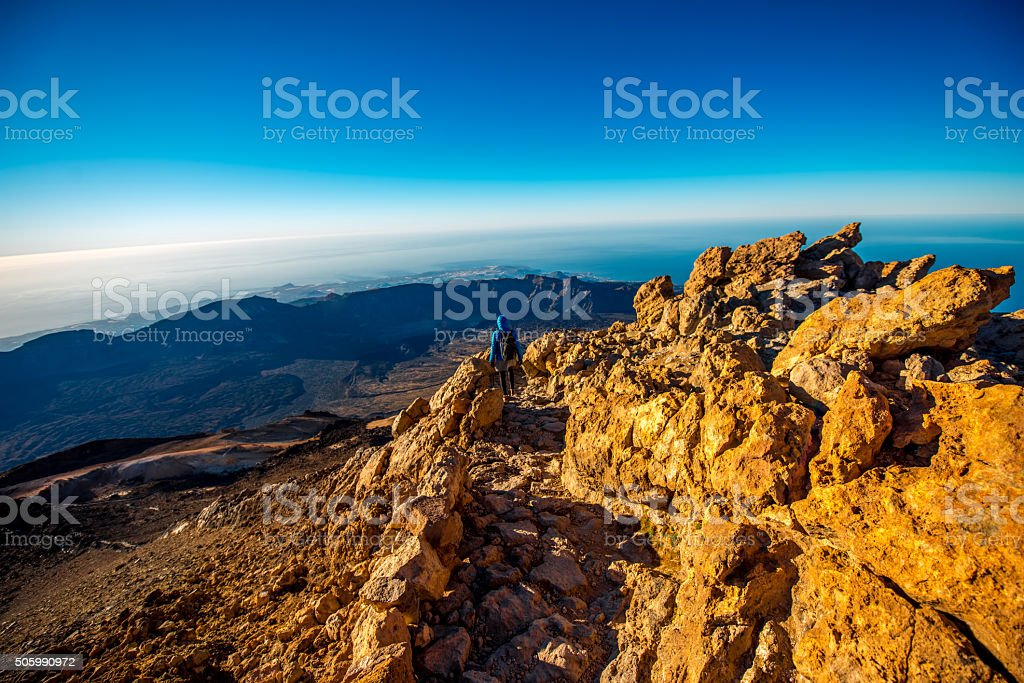 Landscape view from the top of volcano Teide stock photo
