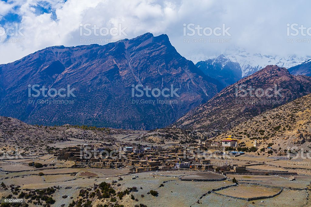 Landscape View Himalays Mountains Village.Asia Nature Morning Viewpoint.Mountain стоковое фото