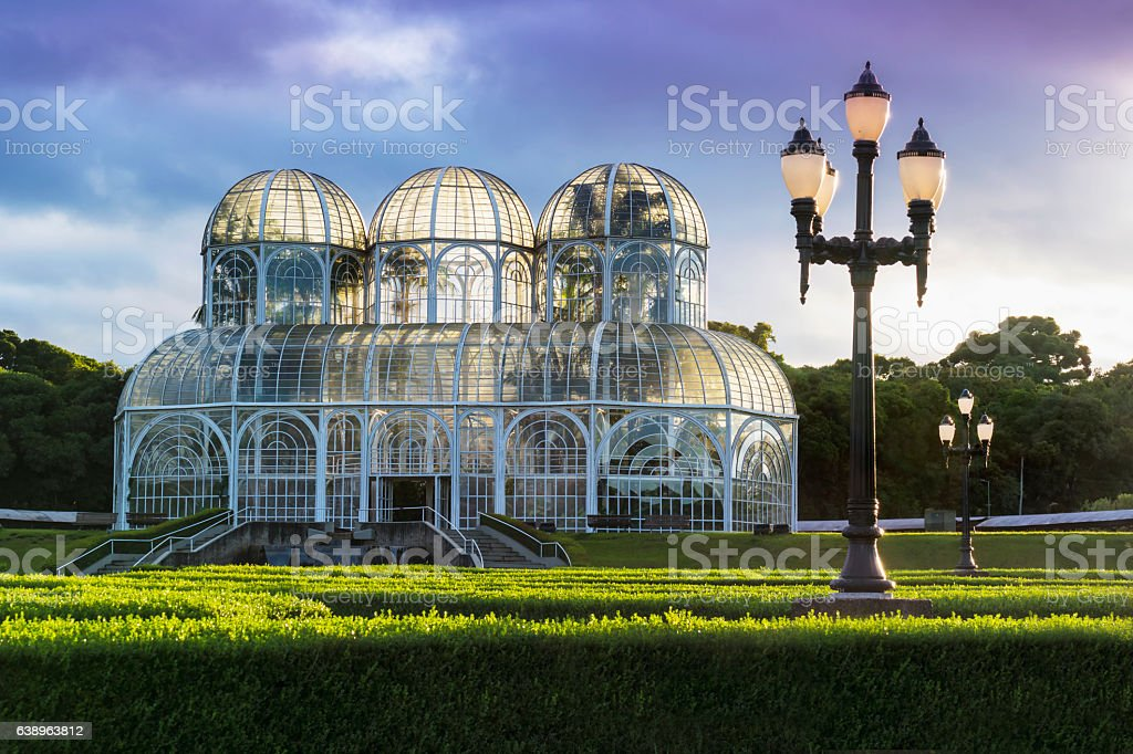 Landscape view of a garden in Curitiba, Brazil stock photo