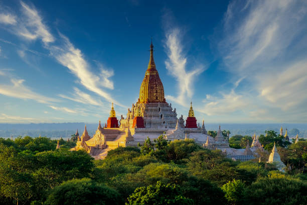 Landscape view of Ananda temple in old Bagan area, Myanmar stock photo