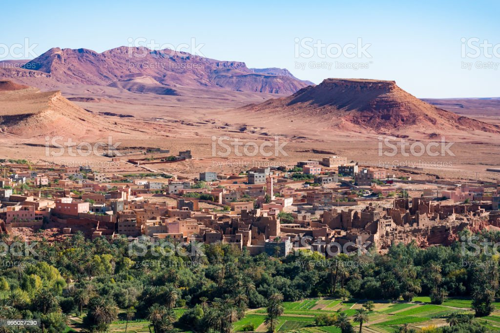 Landscape view of Atlas mountains and oasis around Douar Ait Boujane village in Todra gorge in Tinghir, Morocco stock photo