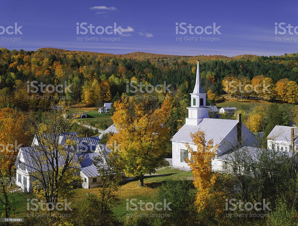 Landscape view of autumn in Vermont stock photo