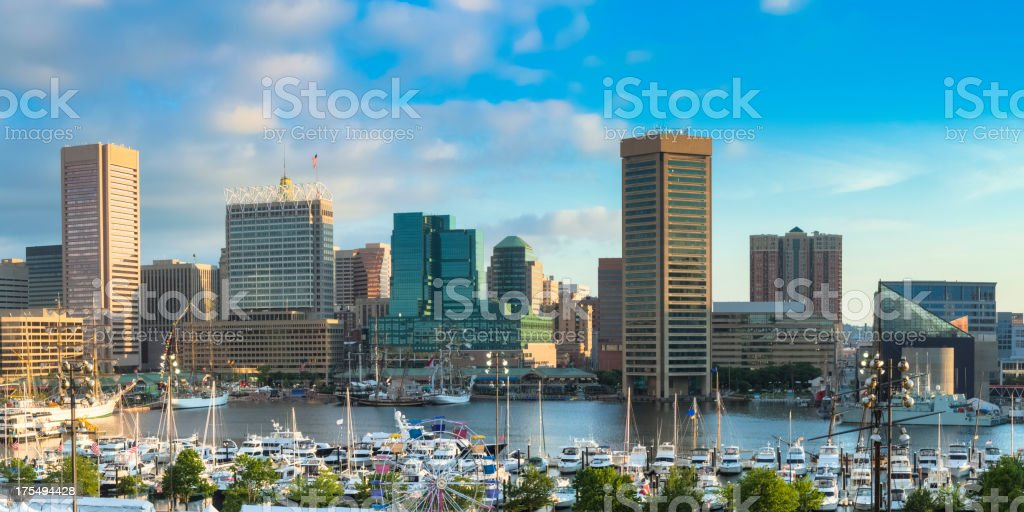 A landscape view of Baltimore Inner Harbour stock photo