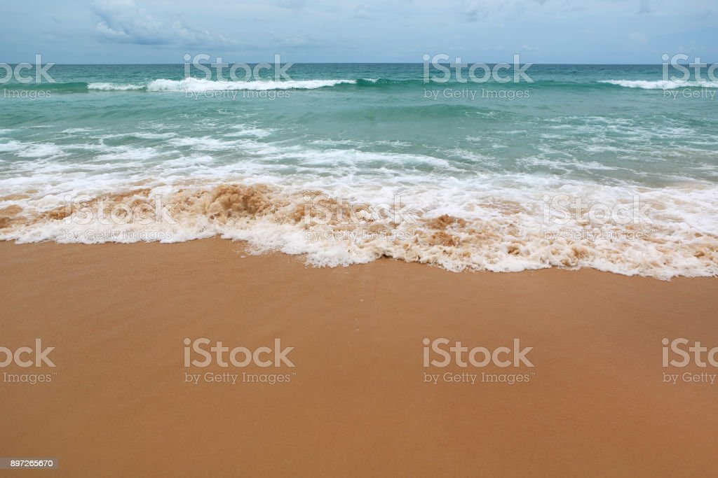 Landscape view of Beautiful beach and tropical sea. stock photo
