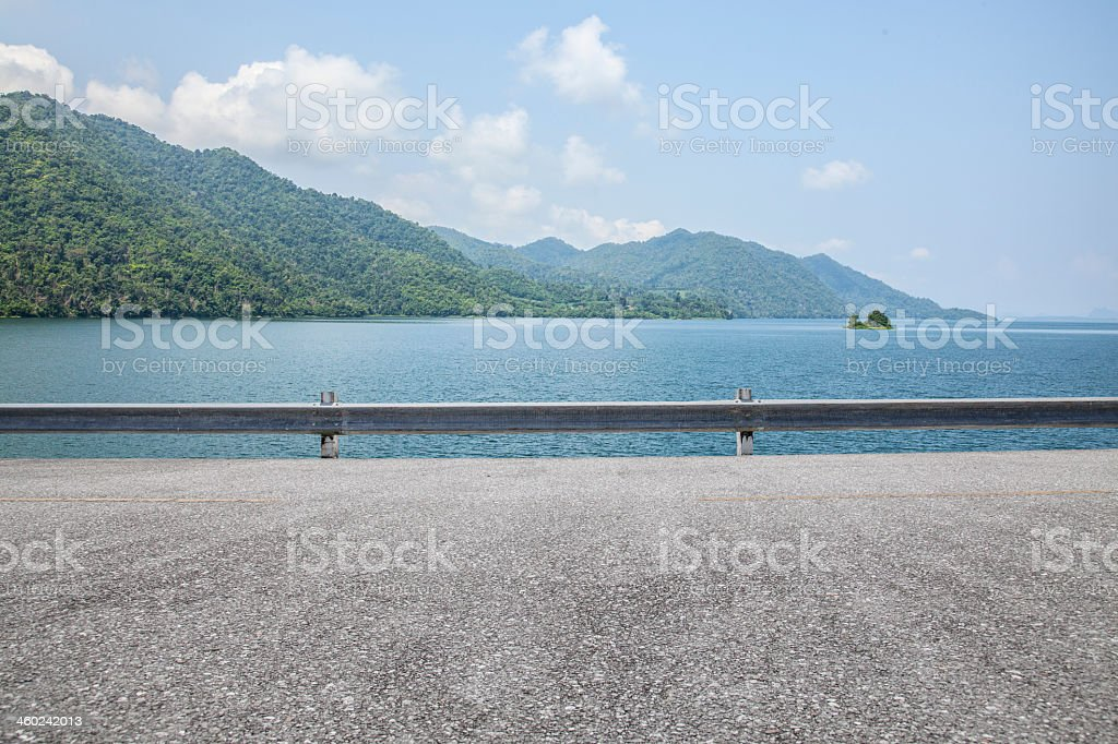 Landscape view of blue lake from the road stock photo