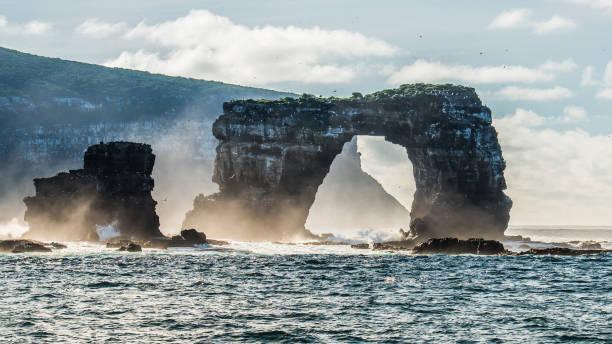 Landscape view of Darwin's Arch near Darwin Island of Galapagos stock photo