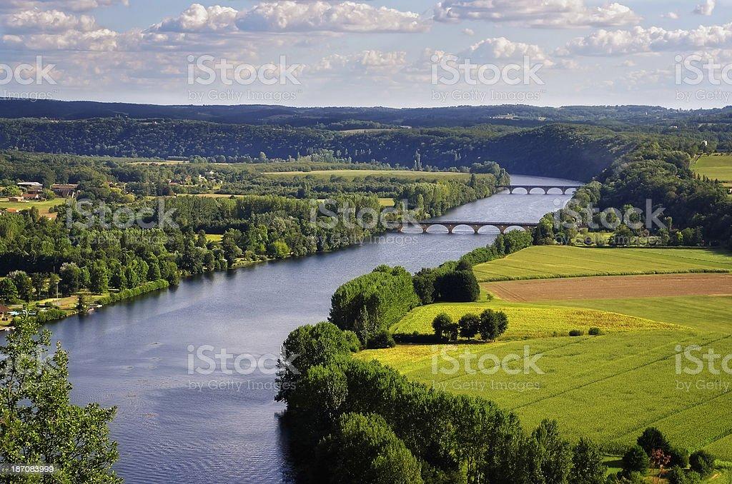 Landscape view of Dordogne river, Cingle de Tremolat point, France stock photo