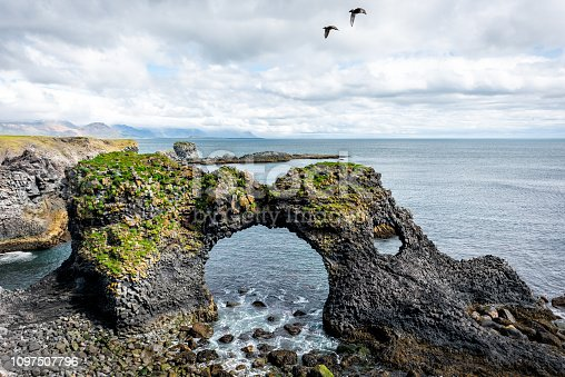 Landscape view of famous Gatklettur arch rock near Hellnar National park Snaefellsnes Peninsula in Iceland with two birds flying on summer day