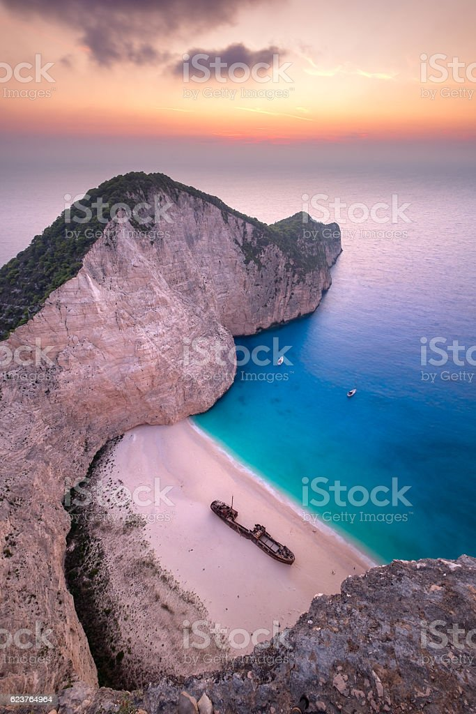 Landscape view of famous Shipwreck (Navagio) beach on Zakynthos stock photo