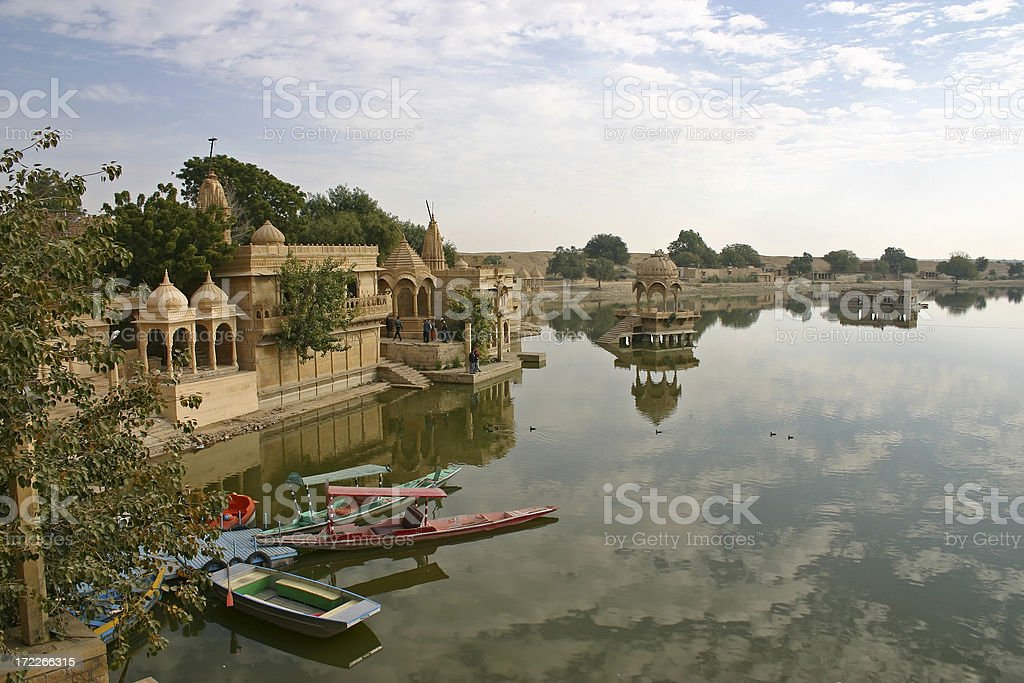 A landscape view of Gadsisar lake stock photo