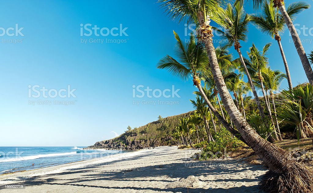 Landscape view of Grande Anse Beach in Reunion Island stock photo