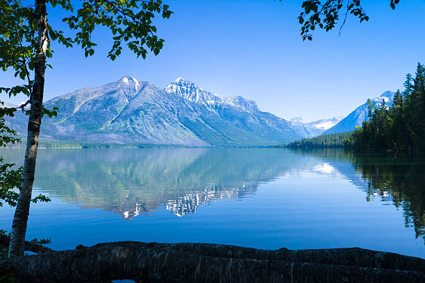 a landscape view of lake mcdonald - mcdonald lake stock pictures, royalty-free photos & images