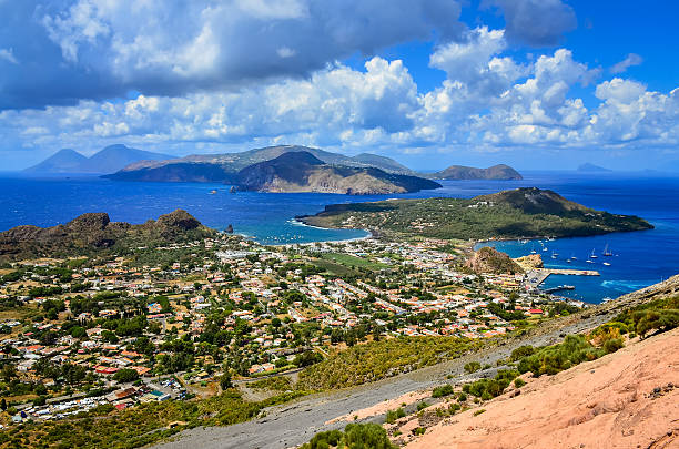 Landscape view of Lipari islands in Sicily, Italy stock photo