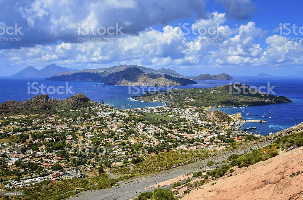 Landscape view of Lipari islands in Sicily, Italy stock photo