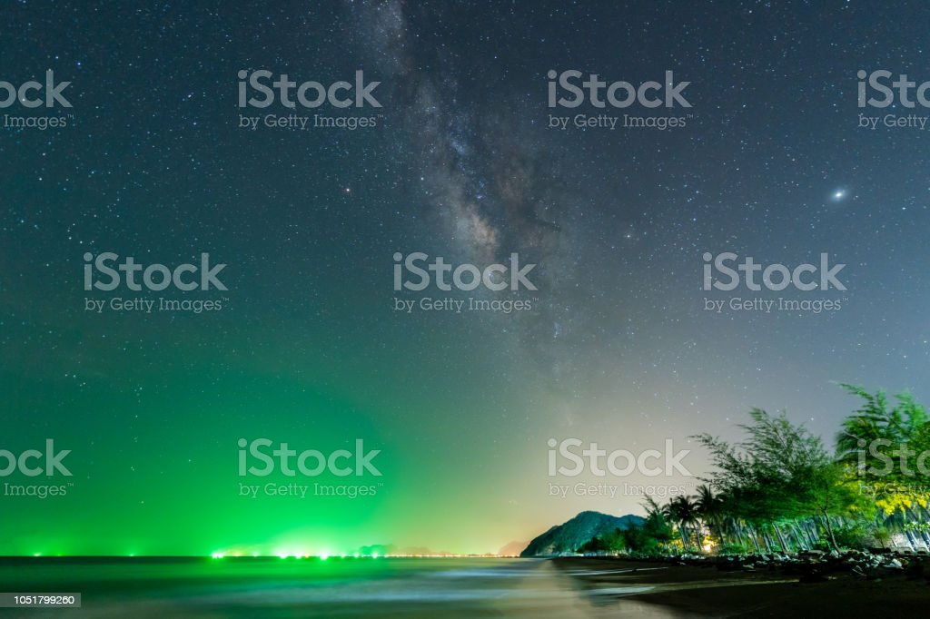 Landscape view of Milky way in night sky over beach, Thailand