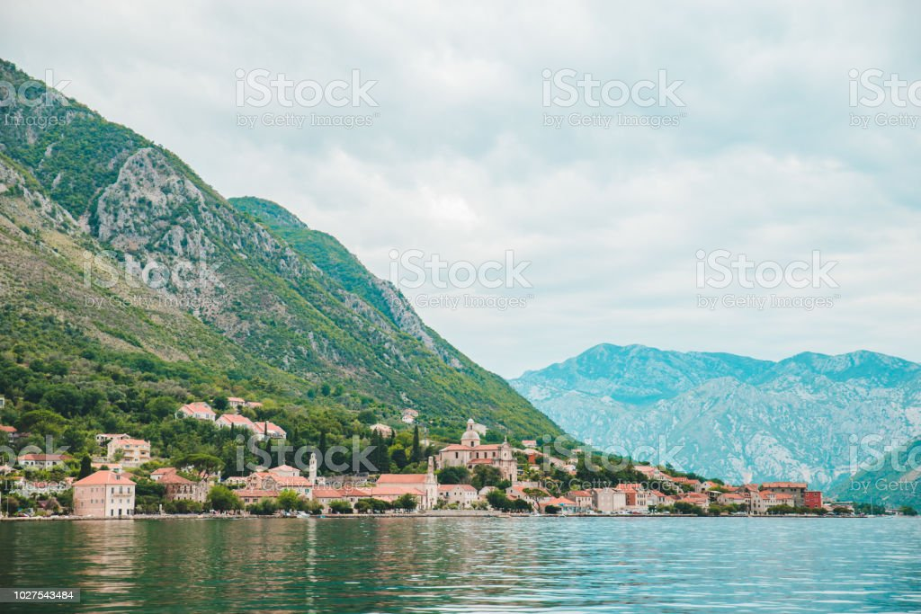landscape view of montenegro bay. overcast weather. sea with mountains