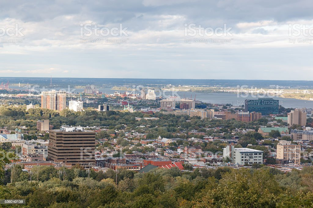 Landscape view of Montreal city during autumn sunny day royalty-free stock photo
